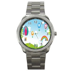 Landscape Sky Rainbow Garden Sport Metal Watch by Amaryn4rt