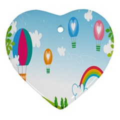 Landscape Sky Rainbow Garden Heart Ornament (two Sides) by Amaryn4rt