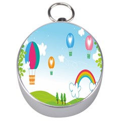 Landscape Sky Rainbow Garden Silver Compasses by Amaryn4rt