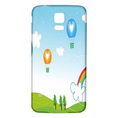 Landscape Sky Rainbow Garden Samsung Galaxy S5 Back Case (white) by Amaryn4rt
