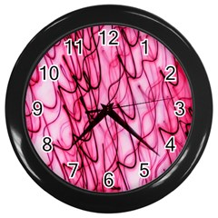 An Unusual Background Photo Of Black Swirls On Pink And Magenta Wall Clocks (black) by Amaryn4rt