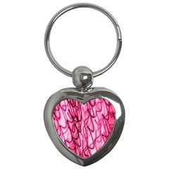 An Unusual Background Photo Of Black Swirls On Pink And Magenta Key Chains (heart)  by Amaryn4rt