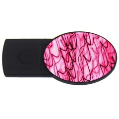 An Unusual Background Photo Of Black Swirls On Pink And Magenta Usb Flash Drive Oval (4 Gb) by Amaryn4rt