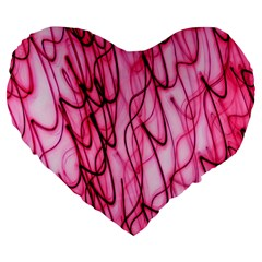 An Unusual Background Photo Of Black Swirls On Pink And Magenta Large 19  Premium Heart Shape Cushions by Amaryn4rt