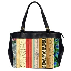 Digitally Created Collage Pattern Made Up Of Patterned Stripes Office Handbags (2 Sides)  by Amaryn4rt