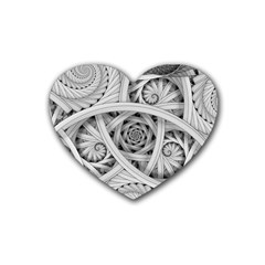 Fractal Wallpaper Black N White Chaos Heart Coaster (4 Pack)  by Amaryn4rt