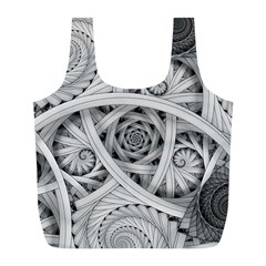 Fractal Wallpaper Black N White Chaos Full Print Recycle Bags (l)  by Amaryn4rt