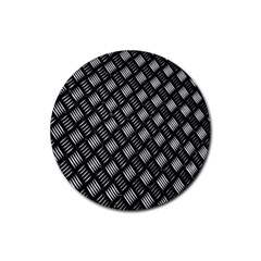Abstract Of Metal Plate With Lines Rubber Round Coaster (4 Pack)  by Amaryn4rt