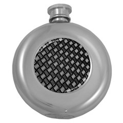 Abstract Of Metal Plate With Lines Round Hip Flask (5 Oz) by Amaryn4rt
