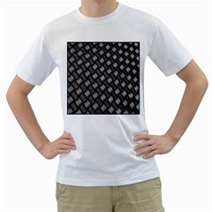 Abstract Of Metal Plate With Lines Men s T Shirt (white)  by Amaryn4rt