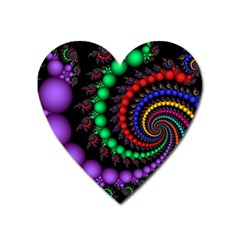 Fractal Background With High Quality Spiral Of Balls On Black Heart Magnet by Amaryn4rt