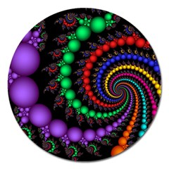 Fractal Background With High Quality Spiral Of Balls On Black Magnet 5  (round) by Amaryn4rt