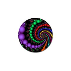 Fractal Background With High Quality Spiral Of Balls On Black Golf Ball Marker (10 Pack) by Amaryn4rt