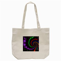 Fractal Background With High Quality Spiral Of Balls On Black Tote Bag (cream) by Amaryn4rt