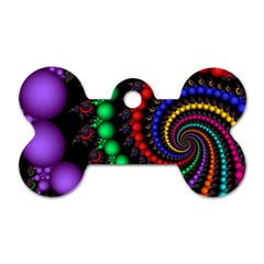 Fractal Background With High Quality Spiral Of Balls On Black Dog Tag Bone (two Sides) by Amaryn4rt