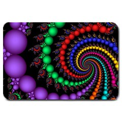 Fractal Background With High Quality Spiral Of Balls On Black Large Doormat  by Amaryn4rt