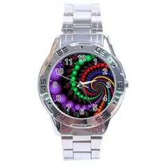 Fractal Background With High Quality Spiral Of Balls On Black Stainless Steel Analogue Watch by Amaryn4rt