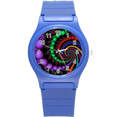 Fractal Background With High Quality Spiral Of Balls On Black Round Plastic Sport Watch (s) by Amaryn4rt