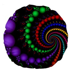 Fractal Background With High Quality Spiral Of Balls On Black Large 18  Premium Round Cushions by Amaryn4rt