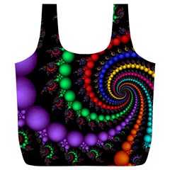 Fractal Background With High Quality Spiral Of Balls On Black Full Print Recycle Bags (l)  by Amaryn4rt