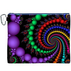 Fractal Background With High Quality Spiral Of Balls On Black Canvas Cosmetic Bag (xxxl) by Amaryn4rt