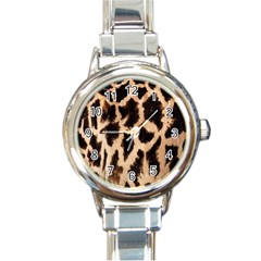 Yellow And Brown Spots On Giraffe Skin Texture Round Italian Charm Watch by Amaryn4rt