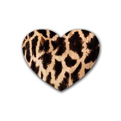 Yellow And Brown Spots On Giraffe Skin Texture Rubber Coaster (heart)  by Amaryn4rt