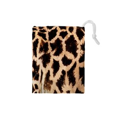Yellow And Brown Spots On Giraffe Skin Texture Drawstring Pouches (small)  by Amaryn4rt