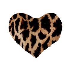 Yellow And Brown Spots On Giraffe Skin Texture Standard 16  Premium Flano Heart Shape Cushions by Amaryn4rt