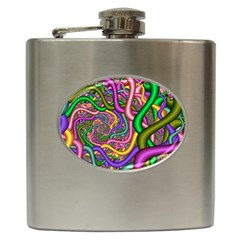 Fractal Background With Tangled Color Hoses Hip Flask (6 Oz) by Amaryn4rt