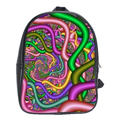 Fractal Background With Tangled Color Hoses School Bags(large)  by Amaryn4rt