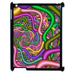 Fractal Background With Tangled Color Hoses Apple Ipad 2 Case (black) by Amaryn4rt