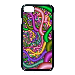 Fractal Background With Tangled Color Hoses Apple Iphone 7 Seamless Case (black)