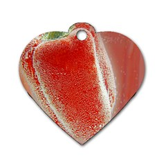 Red Pepper And Bubbles Dog Tag Heart (two Sides) by Amaryn4rt