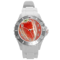 Red Pepper And Bubbles Round Plastic Sport Watch (l)