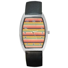 Abstract Vintage Lines Background Pattern Barrel Style Metal Watch by Amaryn4rt
