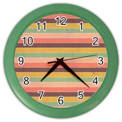 Abstract Vintage Lines Background Pattern Color Wall Clocks by Amaryn4rt
