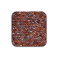 Roof Tiles On A Country House Rubber Coaster (square)  by Amaryn4rt