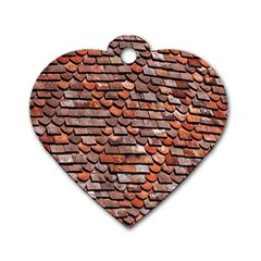 Roof Tiles On A Country House Dog Tag Heart (two Sides) by Amaryn4rt