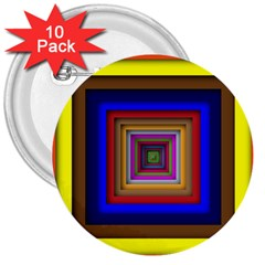 Square Abstract Geometric Art 3  Buttons (10 Pack)  by Amaryn4rt