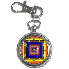 Square Abstract Geometric Art Key Chain Watches by Amaryn4rt