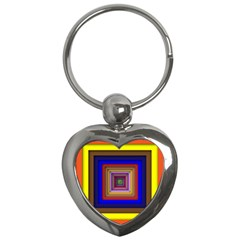Square Abstract Geometric Art Key Chains (heart)  by Amaryn4rt