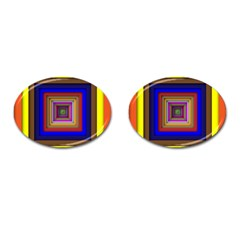 Square Abstract Geometric Art Cufflinks (oval)