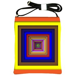 Square Abstract Geometric Art Shoulder Sling Bags by Amaryn4rt