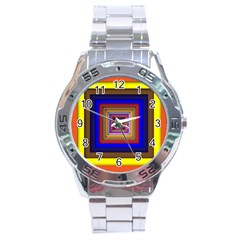 Square Abstract Geometric Art Stainless Steel Analogue Watch by Amaryn4rt