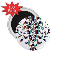 Damask Decorative Ornamental 2 25  Magnets (100 Pack)  by Amaryn4rt