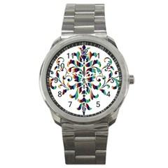 Damask Decorative Ornamental Sport Metal Watch by Amaryn4rt
