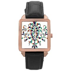 Damask Decorative Ornamental Rose Gold Leather Watch  by Amaryn4rt