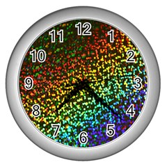 Construction Paper Iridescent Wall Clocks (silver)  by Amaryn4rt