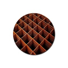 Metal Grid Framework Creates An Abstract Rubber Coaster (round)  by Amaryn4rt
